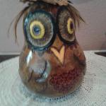 Owl - Carved, resin inlay, pyrography design all over - blue ribbon Show-Me Gourd Society(SMGS)  2015