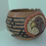 Eagle - carved, crushed glass inlay, painted,  pyrographed