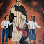 mural of Francisco Foll OP at schol